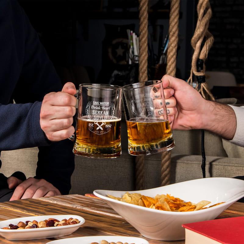 Save Water - Drink Beer Tasarımlı Kişiye Özel Bira Bardağı