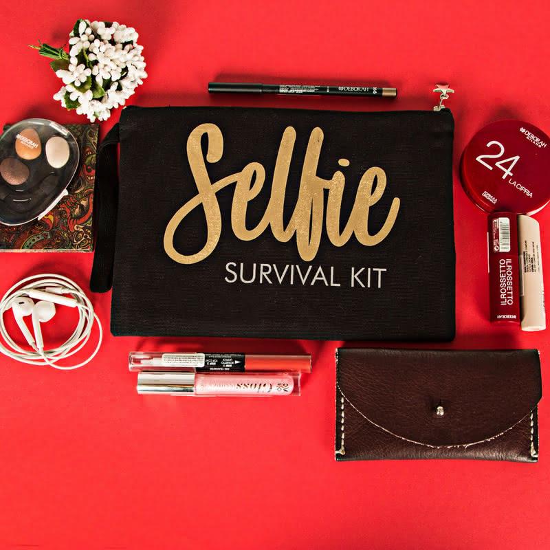 Selfie Survival Kit Kanvas Makyaj Çantası