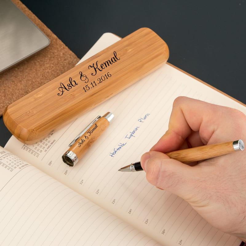 Sevgiliye Hediye Bambu Kutulu Kalem Seti