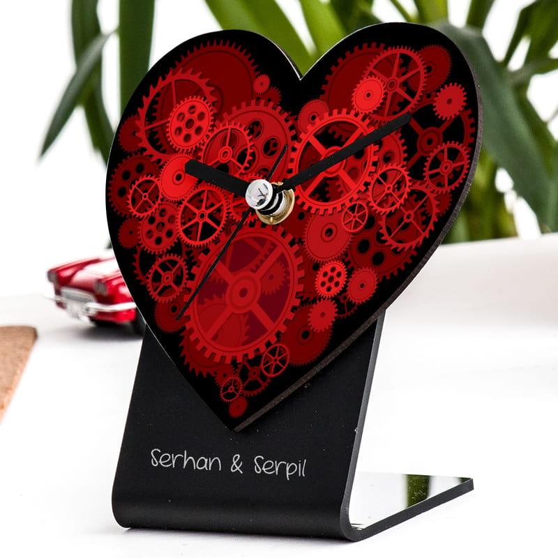 Sevgiliye Hediye Kalp Masa Saati