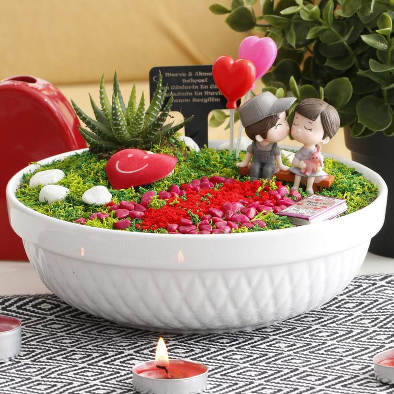 Sevgiliye Hediye Mutlu Çiftler , Kalpli Minyatür Bahçe
