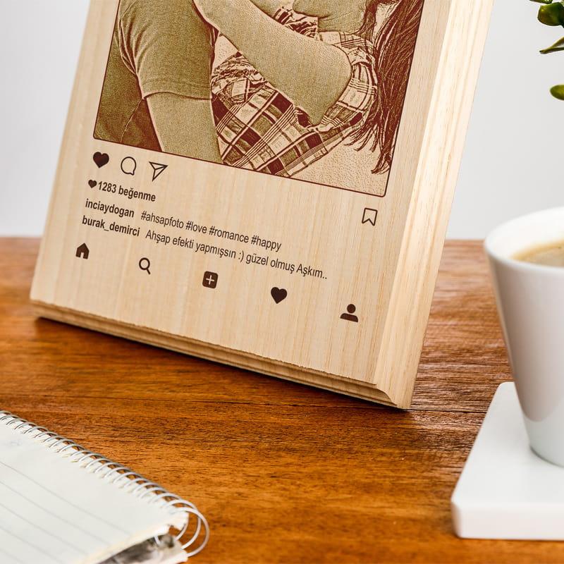 Sevgiliye Hediye Sosyal Medya Tasarımlı Ahşapfoto