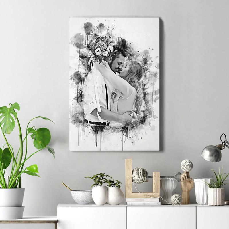 Sevgiliye Yıldönümü Hediyesi Karakalem Kanvas Tablo 40x60