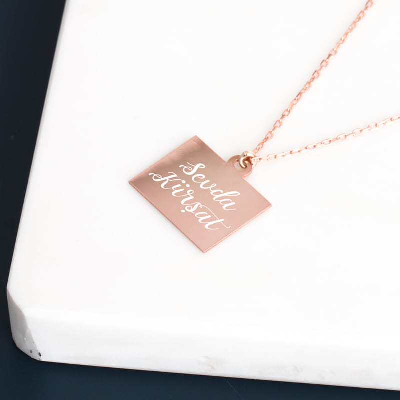 Sonsuz Aşk Tasarımlı İsim İşlemeli Rose Gümüş Kolye