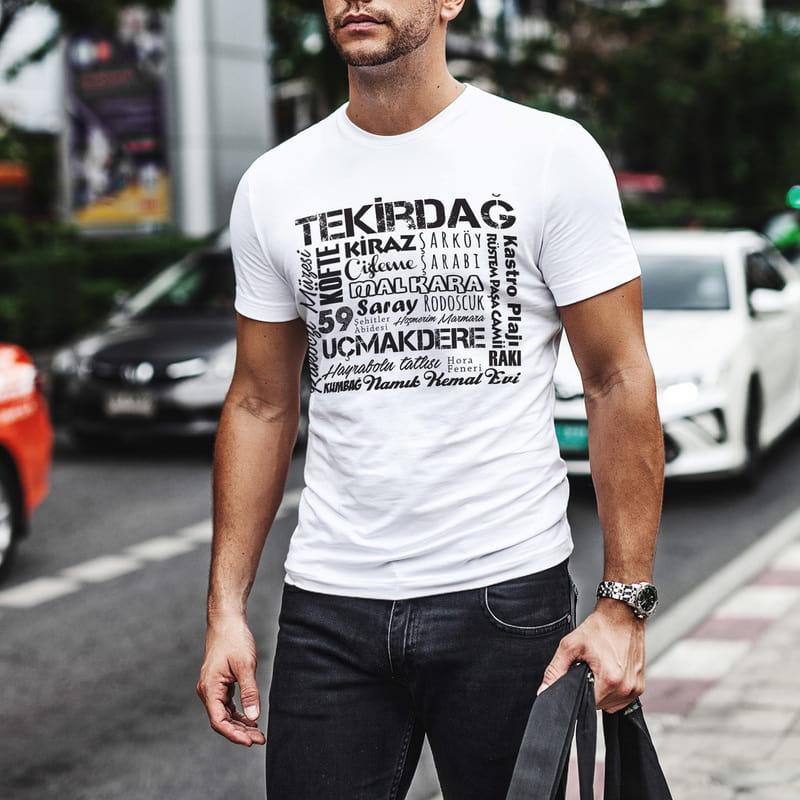 Tekirdağ İline Özel Memleket Tasarımlı Baskılı Tişört