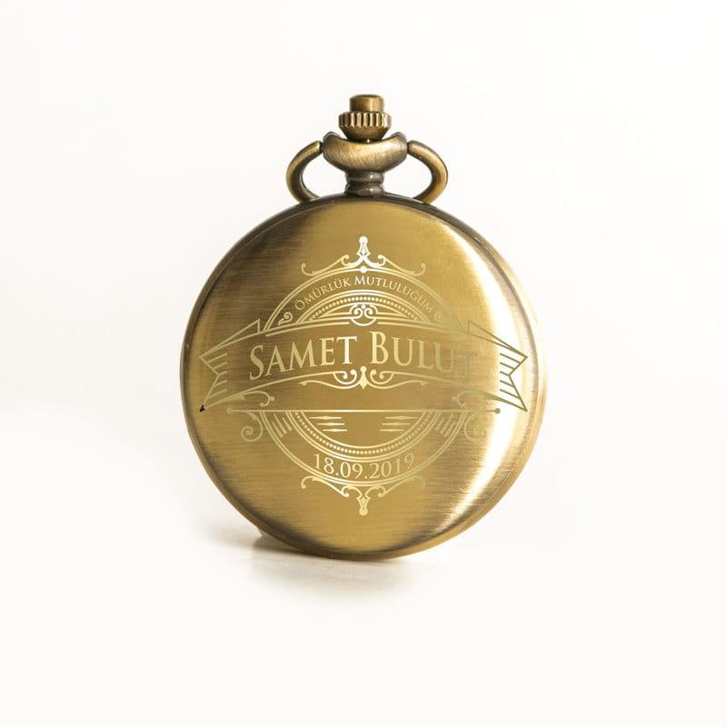 Vintage Tarz İsim ve Mesaj Yazılı Köstekli Saat