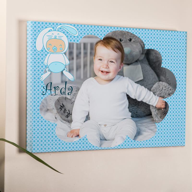 Yeni Doğan Erkek Bebek İçin Hediye Kanvas Tablo 40x60