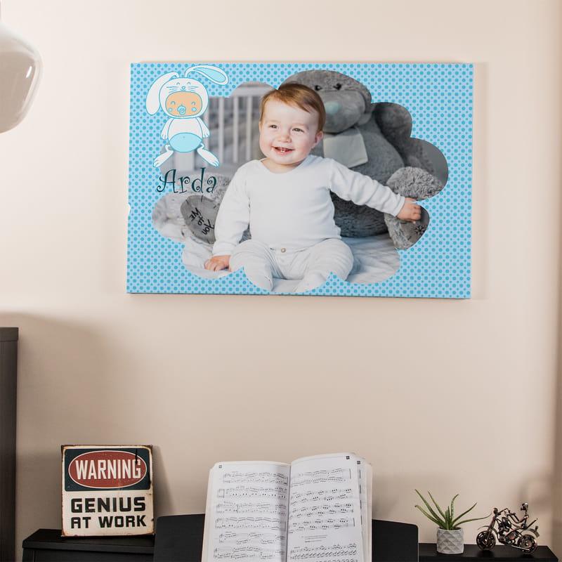 Yeni Doğan Erkek Bebek İçin Hediye Kanvas Tablo 65x95