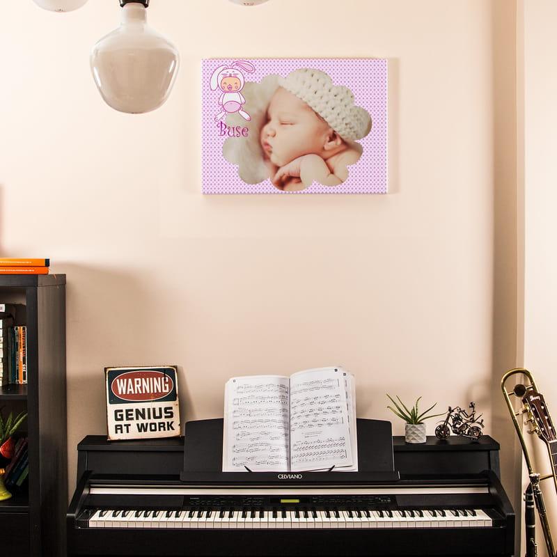 Yeni Doğan Kız Bebek İçin Hediye Kanvas Tablo 40x60