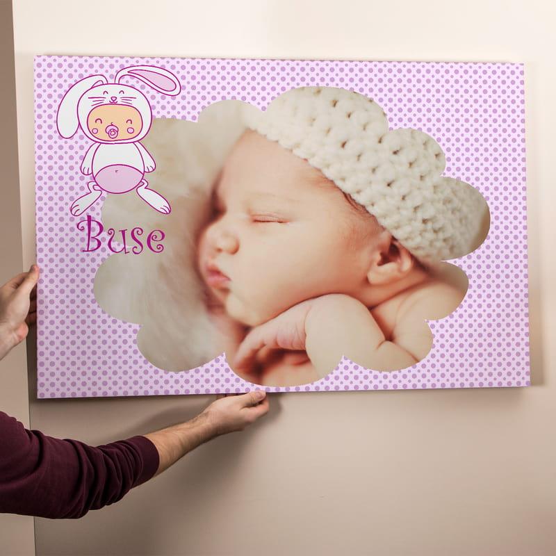 Yeni Doğan Kız Bebek İçin Hediye Kanvas Tablo 65x95