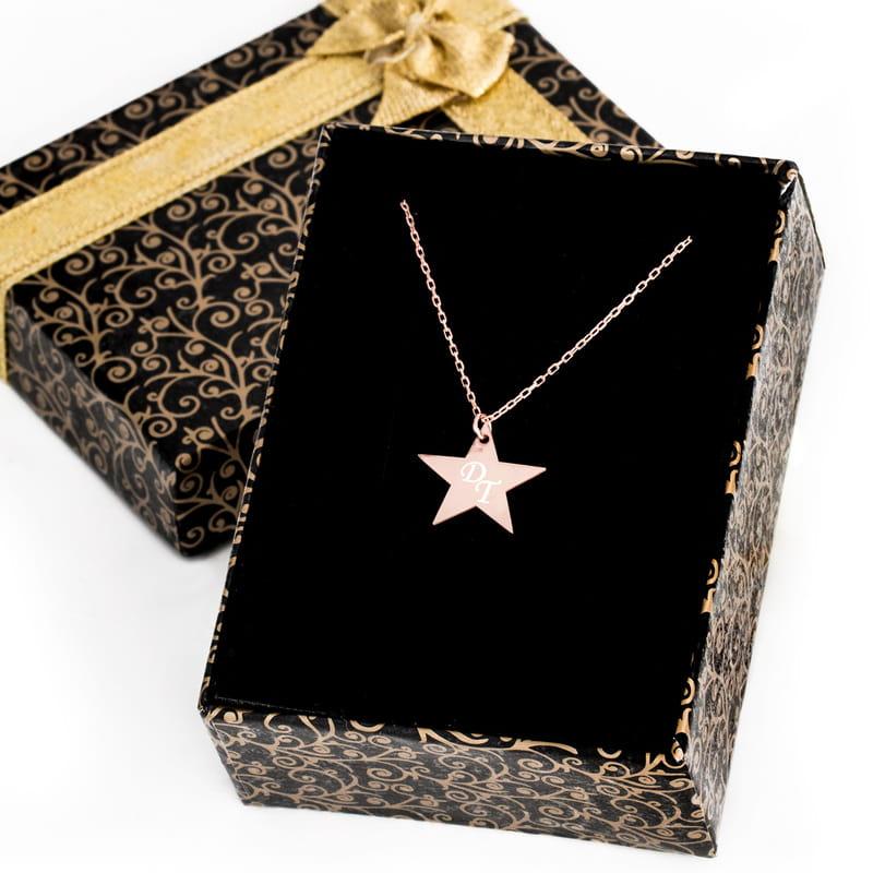 Yıldız Tasarımlı Rose Gümüş Kolye