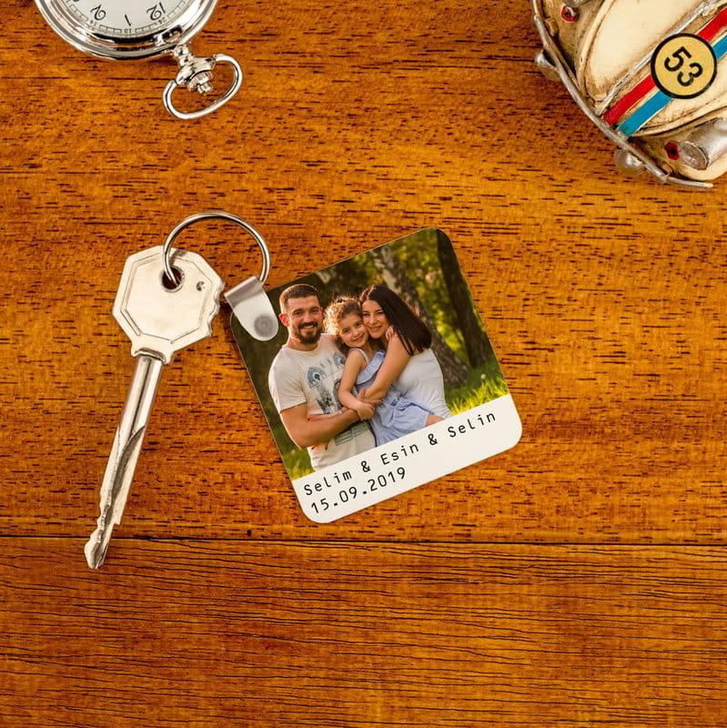 Aile Fotoğrafı Baskılı Anahtarlık