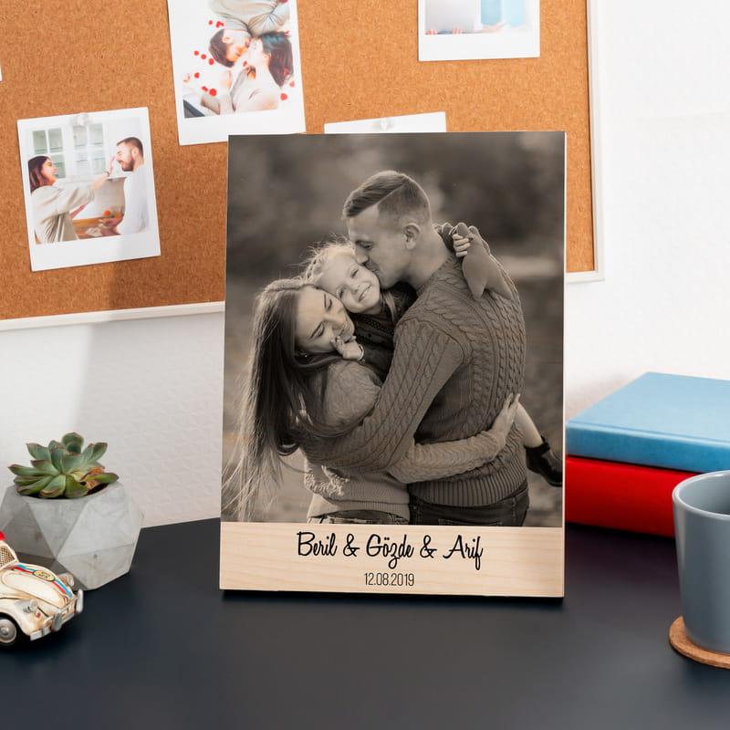 Ailenize Hediye Siyah Beyaz Fotoğraf Baskılı Ahşap Plaka
