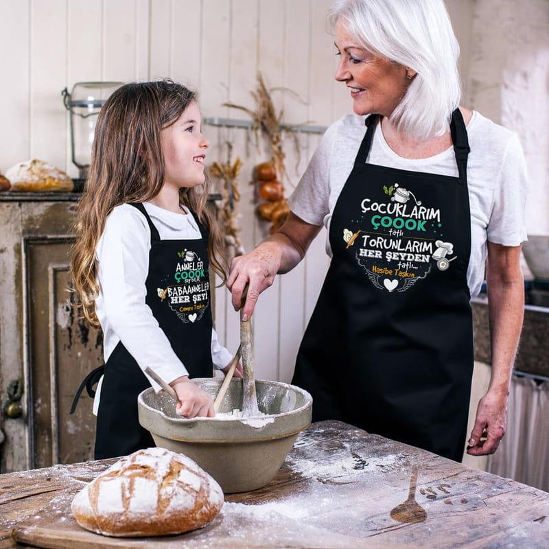 Anneanne & Babaanne Torun Kombin Esprili Mutfak Önlüğü
