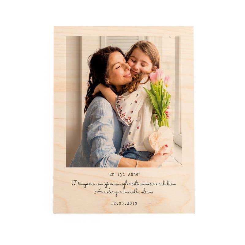 Anneler Günü Hediyesi Resim Baskılı Ahşap Plaka