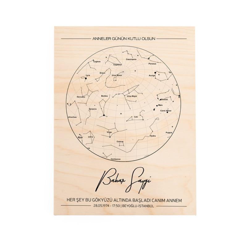 Anneler Günü Hediyesi Yıldız Haritası Tasarımlı Ahşap Plaka