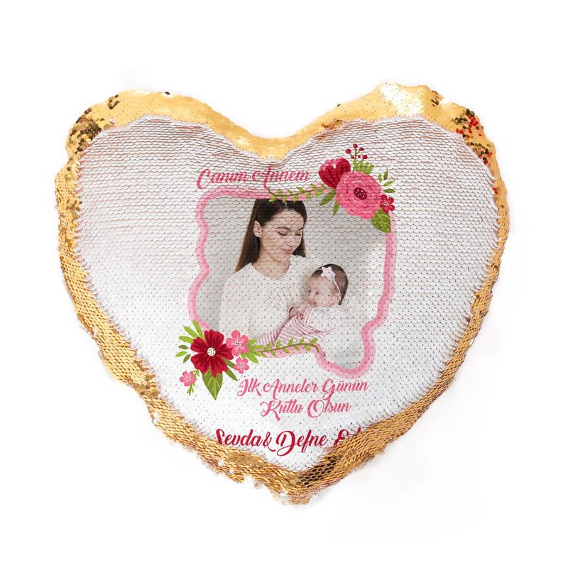 Anneye Hediye Fotoğraf Baskılı Kalp Sihirli Yastık