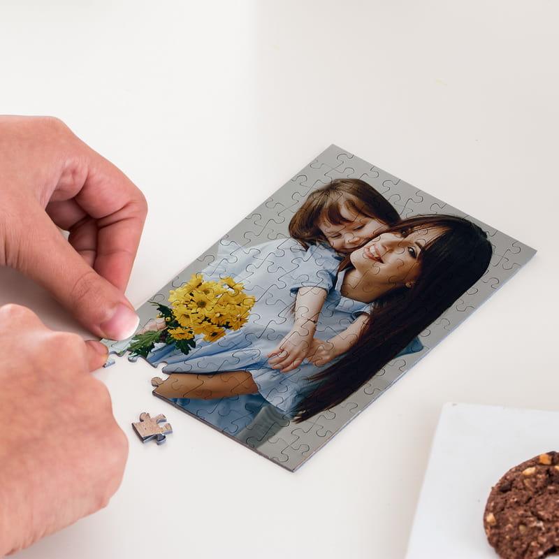 Anneye Hediyesi Fotoğraf Baskılı Kapsül Şişeli Mini Puzzle