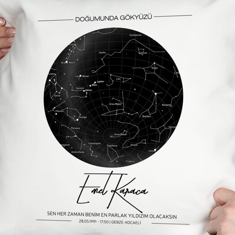 Arkadaşa Hediye Yıldız Haritası Tasarımlı Baskılı Yastık