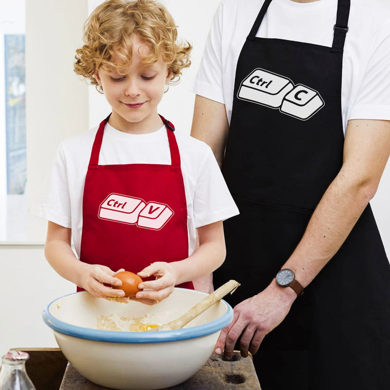 Babasının Kopyası Tasarımlı Esprili Baba Çocuk 2li Mutfak Önlüğü