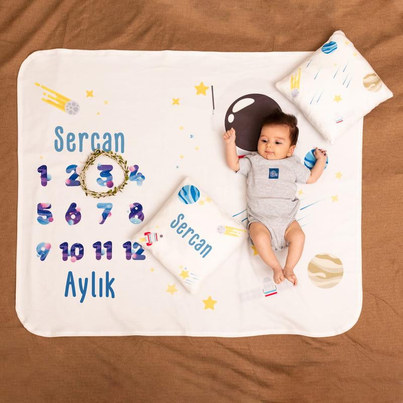 Bebek Aylık Konsepti Fotoğraf Battaniye Seti