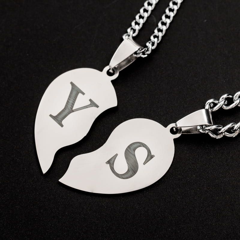 Birleşen Kalp Puzzle Metal Kolye