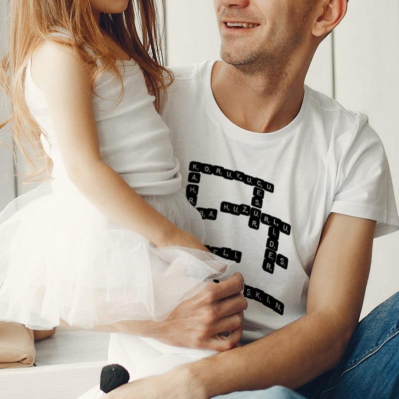 Bulmaca Sever Babalara Kelime Oyunu Tasarımlı Tişört