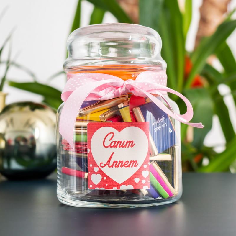 Canım Anneme Sevgi Dolu Çikolata Kavanozu