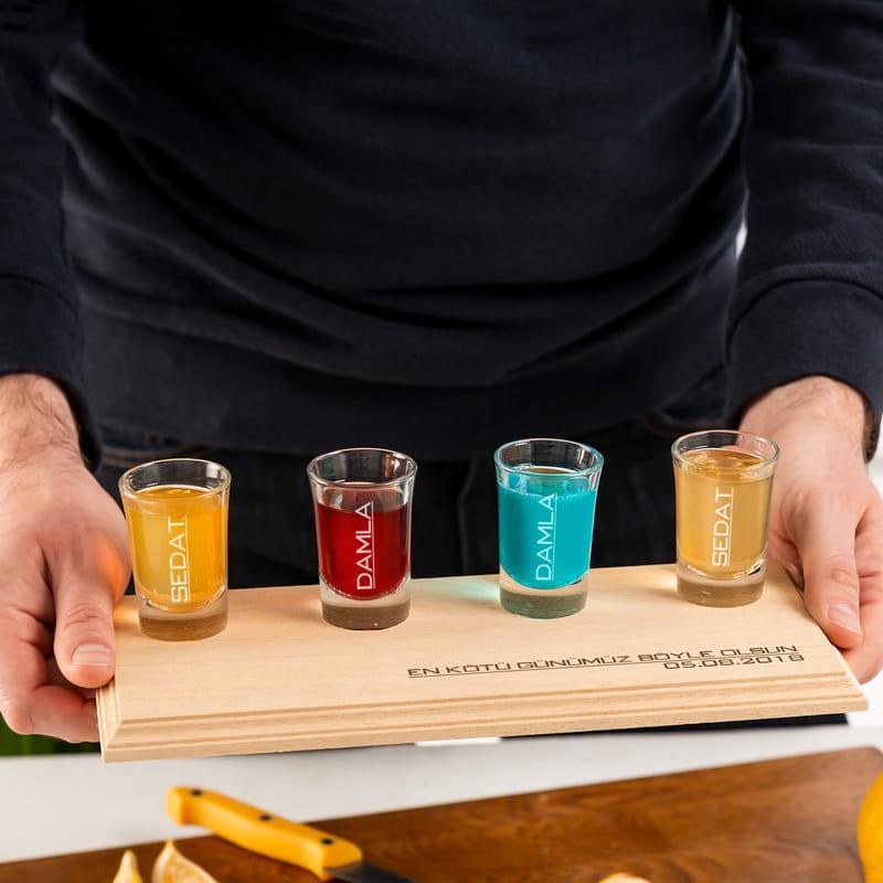 Çiftlere Ev Hediyesi Sunum Tepsili 4lü Shot Bardağı Seti