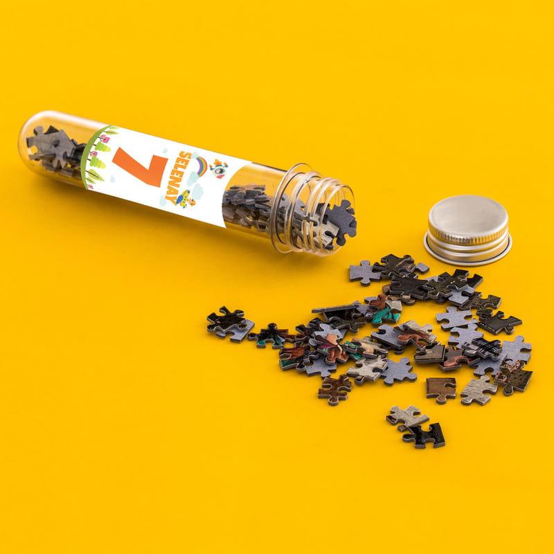 Çocuklara Hediye Fotoğraf Baskılı Kapsül Şişeli Mini Puzzle