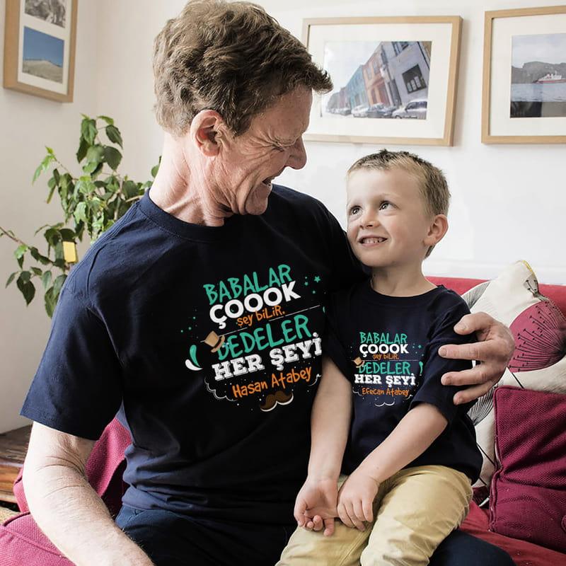 Dedeye Hediye Kişiye Özel Dede Torun İkili Tişört Kombini
