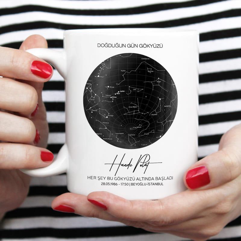 Doğum Günü Hediyesi Yıldız Haritası Tasarımlı Kişiye Özel Kupa
