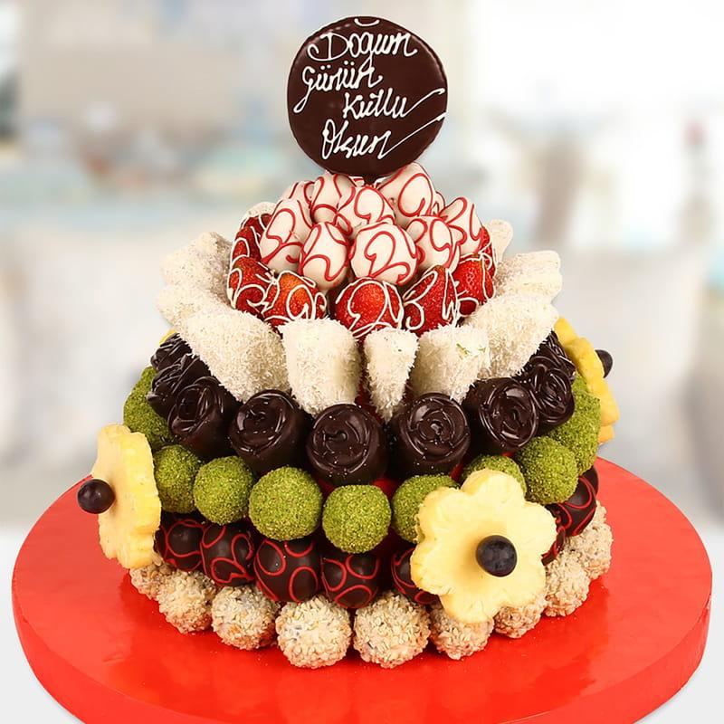 Doğum Günü Mesajlı Lüks Kek Meyve Sepeti