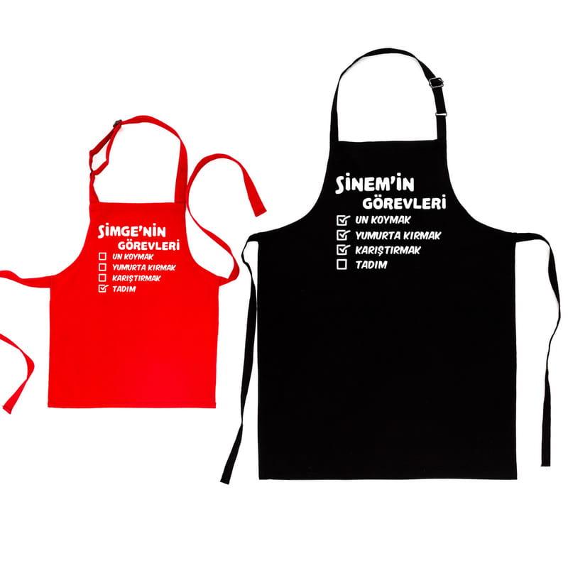 Ebeveyn Çocuk 2li Mutfak Önlük Kombini