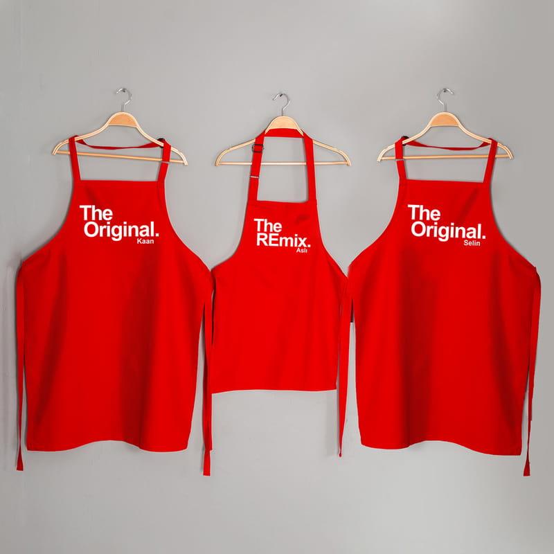 Eğlenceli İsim Yazılı 3 lü Aile Mutfak Önlüğü Kombini