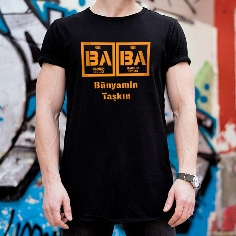 Element Baba Tasarımlı Baskılı Tişört
