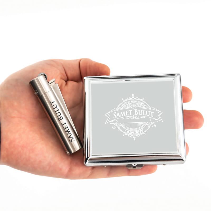 Erkek Sevgiliye Hediye Vintage Çakmak Sigara Tabakası Seti