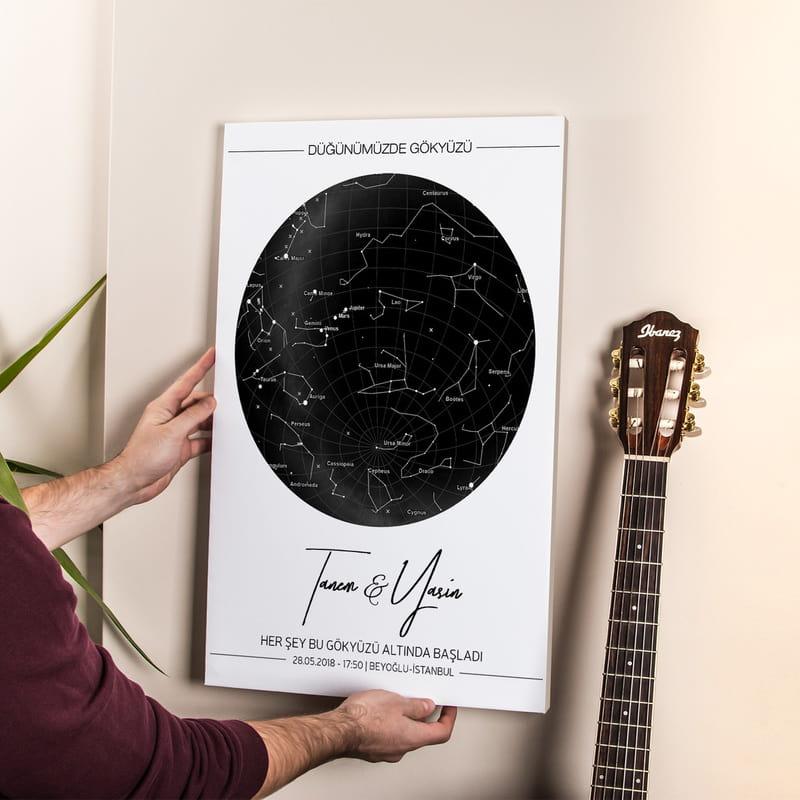 Evlilik Yıldönümüne Yıldız Haritası Tasarımlı Kanvas Tablo 40x60