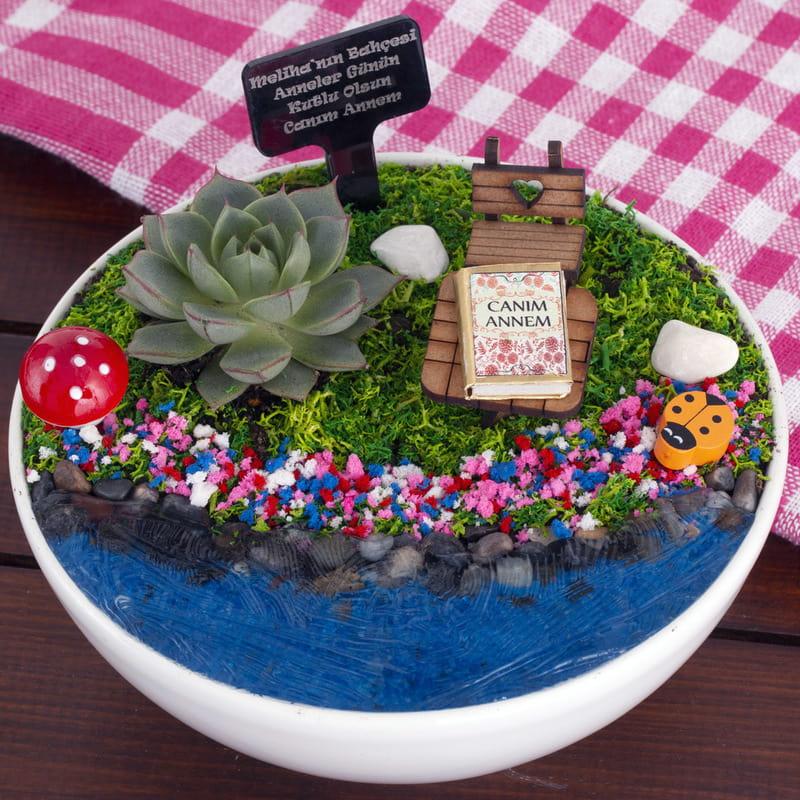 Güzel Anneme Hediye Canlı Minyatür Bahçe