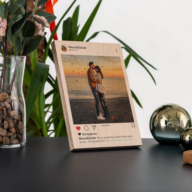 Instagram Tasarımlı Mini Ahşap Plaka