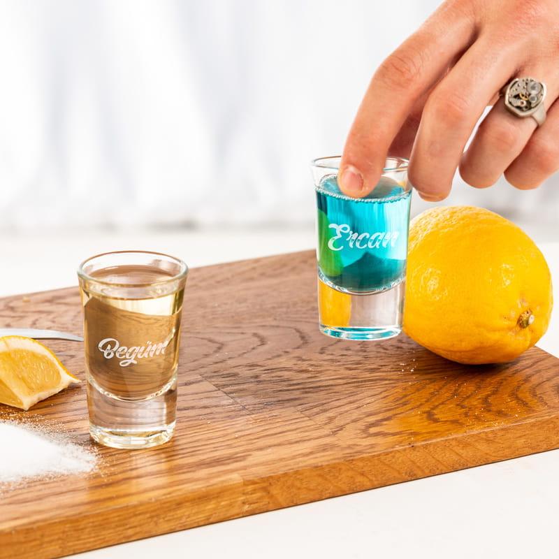 İsim Yazılı 2li Hediye Shot Bardağı Seti