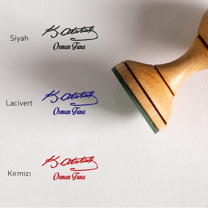 İsme Özel Atatürk İmzası Tasarımlı Kitap Damgası