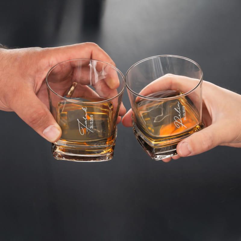 İsme Özel Yıl Dönümü Hediyesi Texas 2li Viski Kadeh Seti