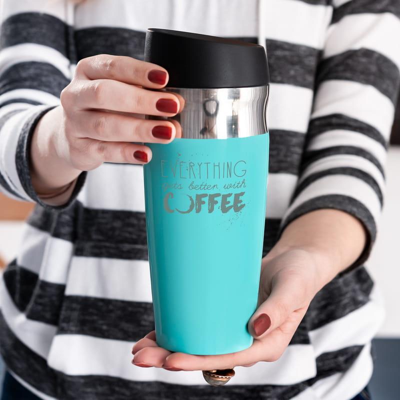 Kahve Severlere Motivasyon Mesajlı Çelik Termos
