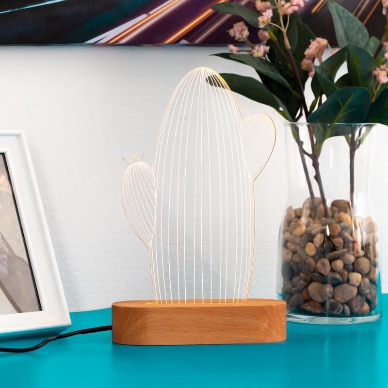 Kaktüs Tasarımlı 3D Led Lamba