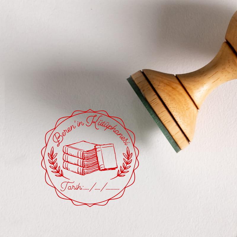 Kişisel Kütüphanelere Tarih Yazılı Ahşap Mühür Seti