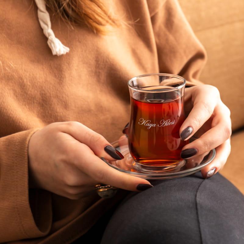 Kişiye Özel 12 Parça Çay Bardağı Aile Seti