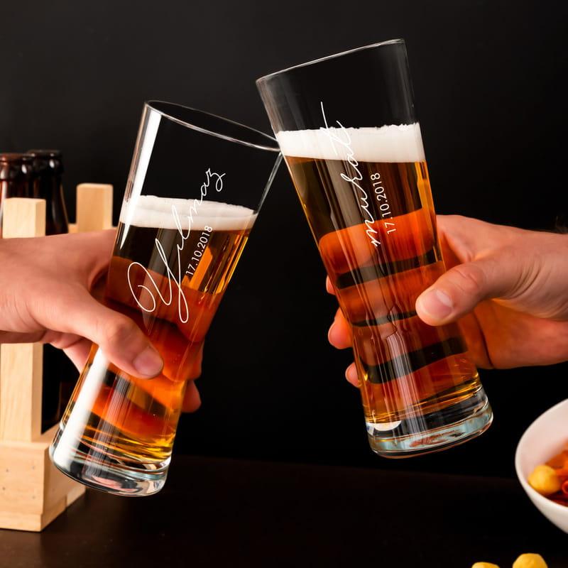 Kişiye Özel İmza Tasarımlı Prag Bira Bardağı