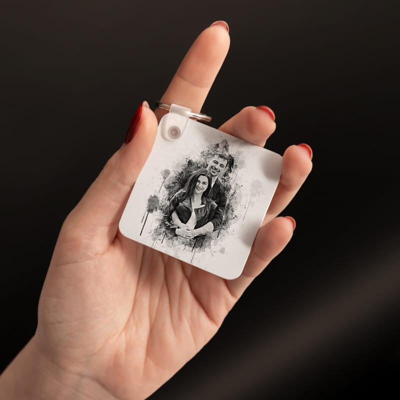 Kişiye Özel Kara Kalem Fotoğraf Baskılı Anahtarlık
