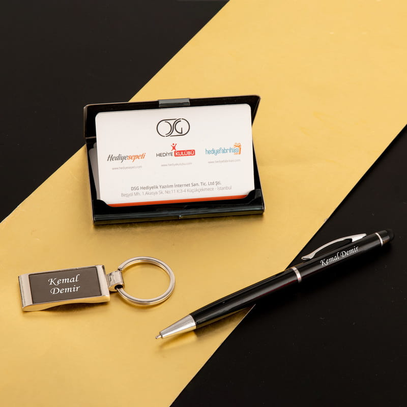Kişiye Özel Kutulu Kartvizitlik Kalem Anahtarlık Ofis Seti
